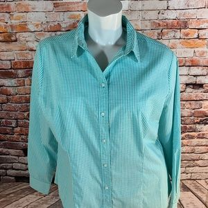 Riders By Lee Teal & White Gingham Button Down Top